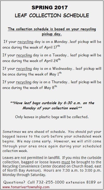Spring Leaf Collection Schedule